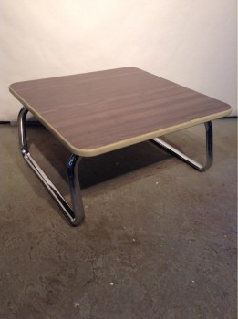 Coffee Table, Steelcase, Woodgraing Top On Chrome Tube Frame
